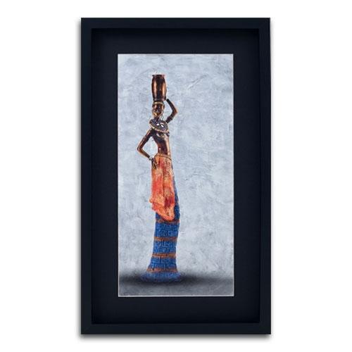 Quadro Decorativo Mulher Africana II em Madeira - 63x37 cm