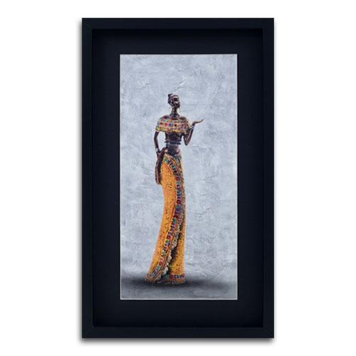 Quadro Decorativo Mulher Africana em Madeira - 63x37 cm