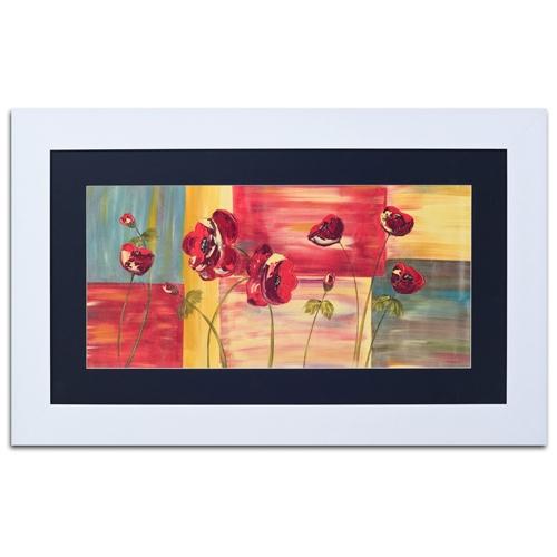 Quadro Decorativo Nove Flores em Madeira - 95x58 cm