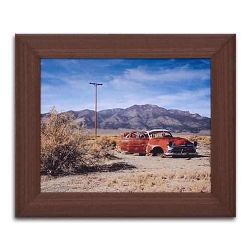 Quadro Decorativo Old Orange Car em Madeira - 63x53 cm