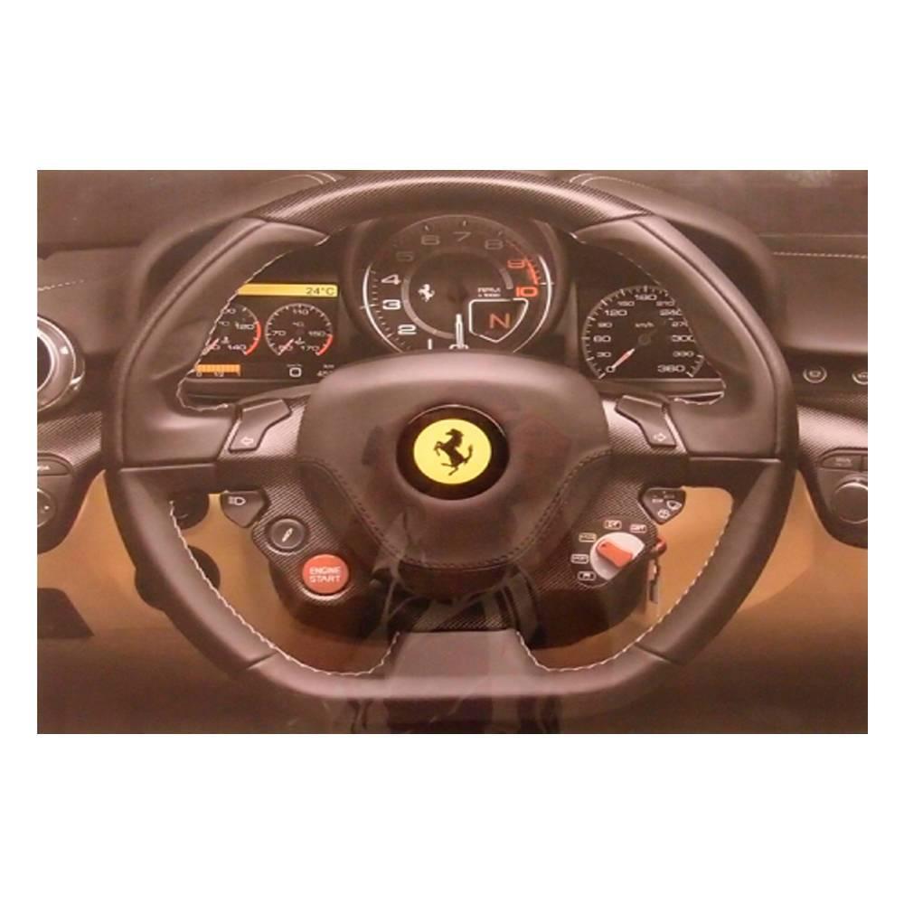 Quadro Decorativo Painel de Ferrari Preto em Vidro - 50x40 cm