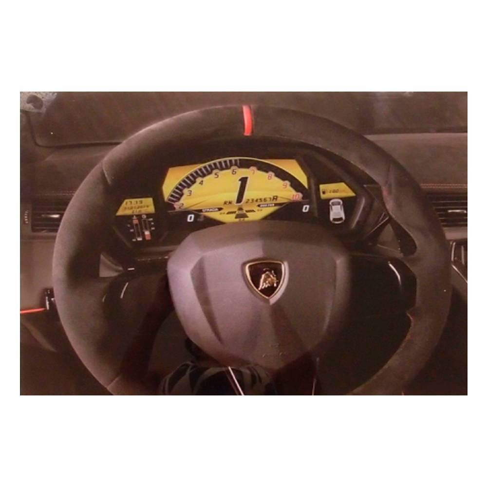 Quadro Decorativo Painel de Lamborghini Preto em Vidro - 50x40 cm