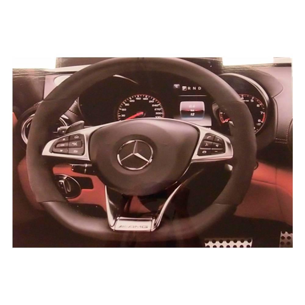 Quadro Decorativo Painel de Mercedes-Benz Preto em Vidro - 50x40 cm