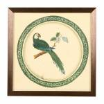 Quadro Decorativo Papagaio Verde em Madeira - 33x33 cm