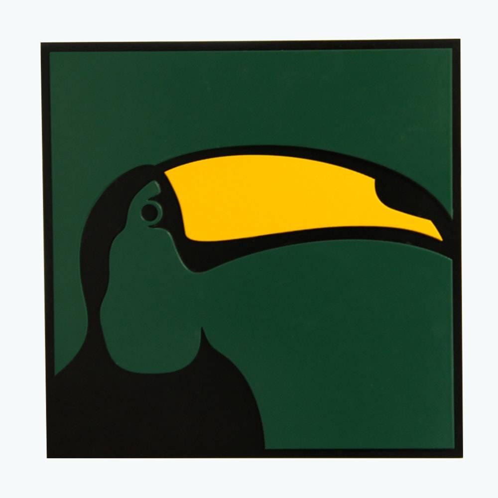 Quadro Decorativo Pássaro Tucano Verde e Preto em MDF - 30x30 cm
