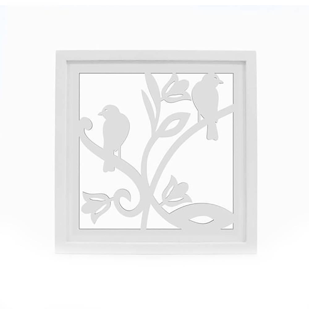 Quadro Decorativo Pássaro Vazado Branco em MDF - 34x34 cm