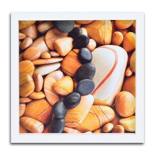 Quadro Decorativo Pedras em Madeira - 34x34 cm