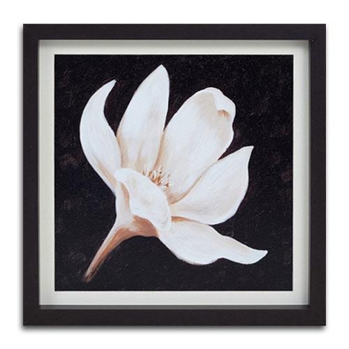 Quadro Decorativo Pétalas Brancas de Uma Flor em Madeira - 41x41 cm