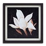 Quadro Decorativo Pétalas Brancas Vintage em Madeira