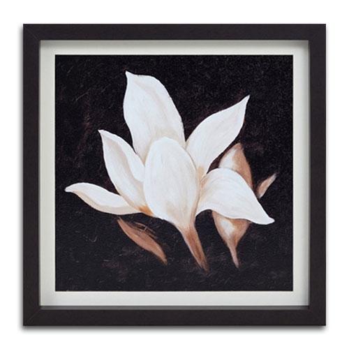 Quadro Decorativo Pétalas Brancas Vintage em Madeira - 41x41 cm