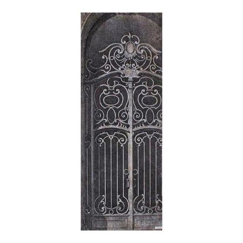 Quadro Decorativo Portão Antigo Preto e Branco em Madeira - 120x46 cm