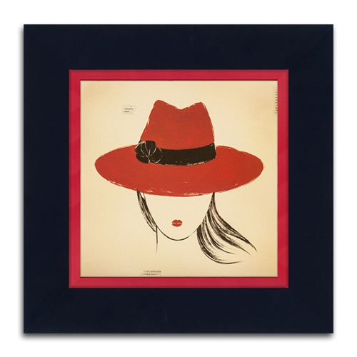 Quadro Decorativo Red Borsalino em Madeira - 46x46 cm