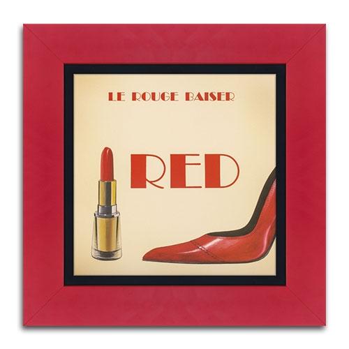 Quadro Decorativo Red Lipstick em Madeira - 46x46 cm