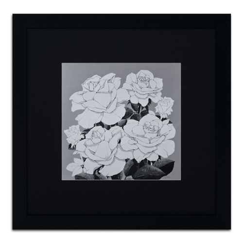 Quadro Decorativo Rosas em Preto e Branco em Madeira - 89x89 cm