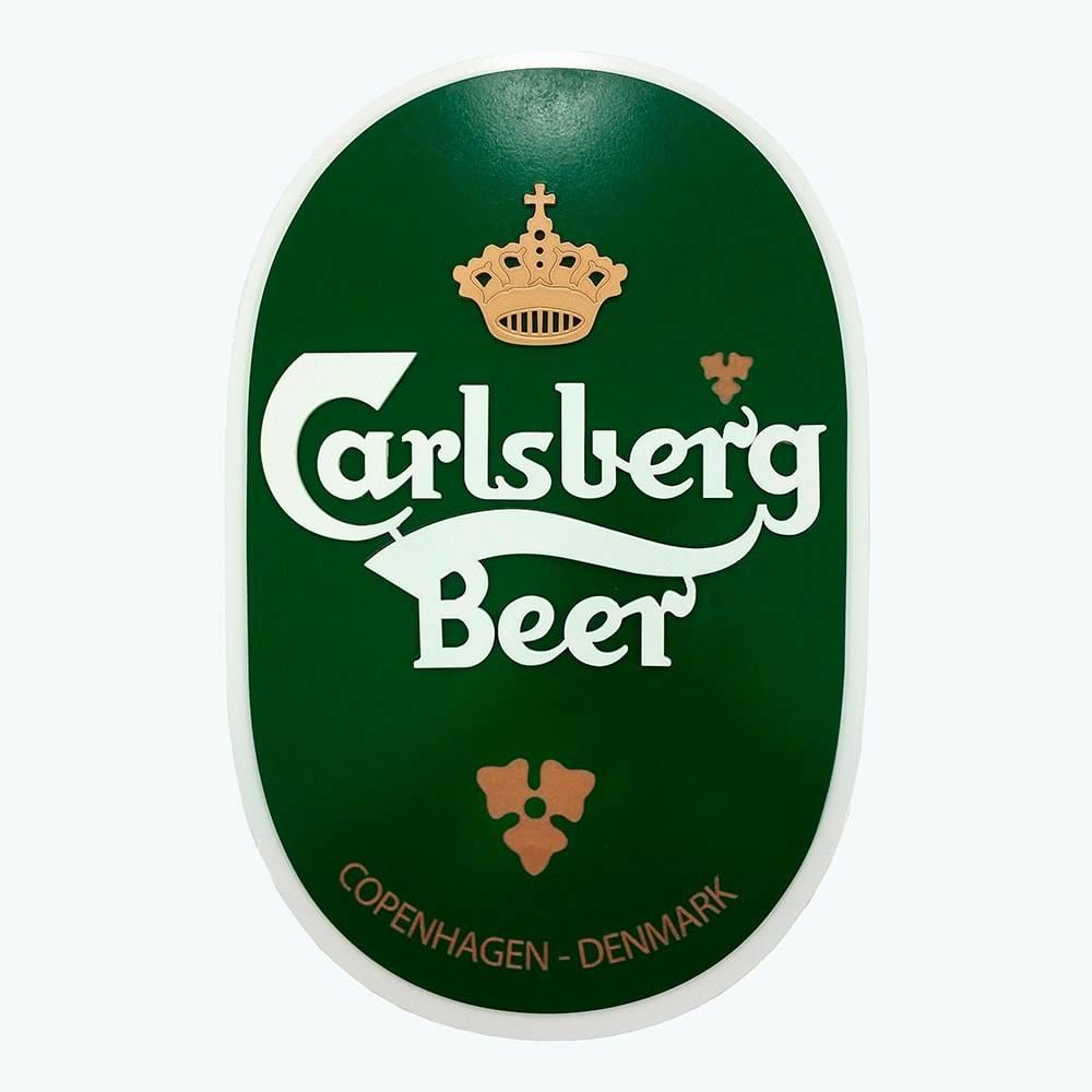 Quadro Decorativo Símbolo Cerveja Carlsberg Verde e Branco em MDF - 43x26 cm