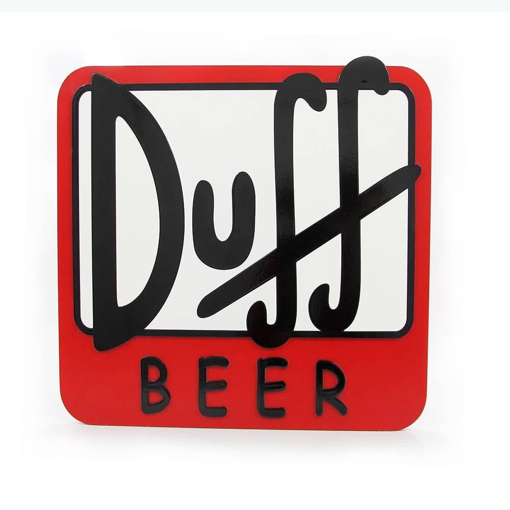 Quadro Decorativo Símbolo Cerveja Duff Vermelho em MDF - 40x40 cm