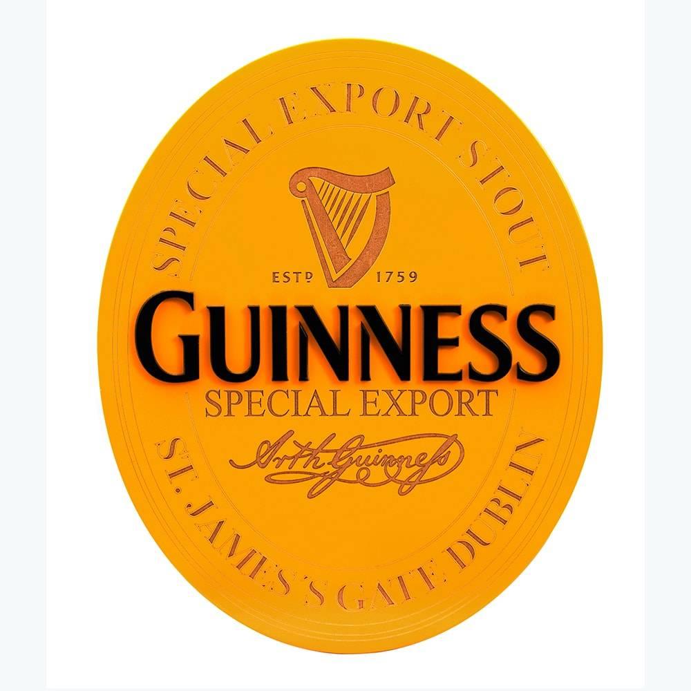 Quadro Decorativo Símbolo Cerveja Guiness Amarelo em MDF - 43x35,2 cm