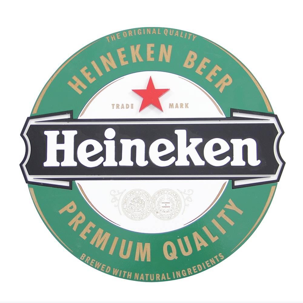 Quadro Decorativo Símbolo Cerveja Heineken Verde em MDF - 40x40 cm