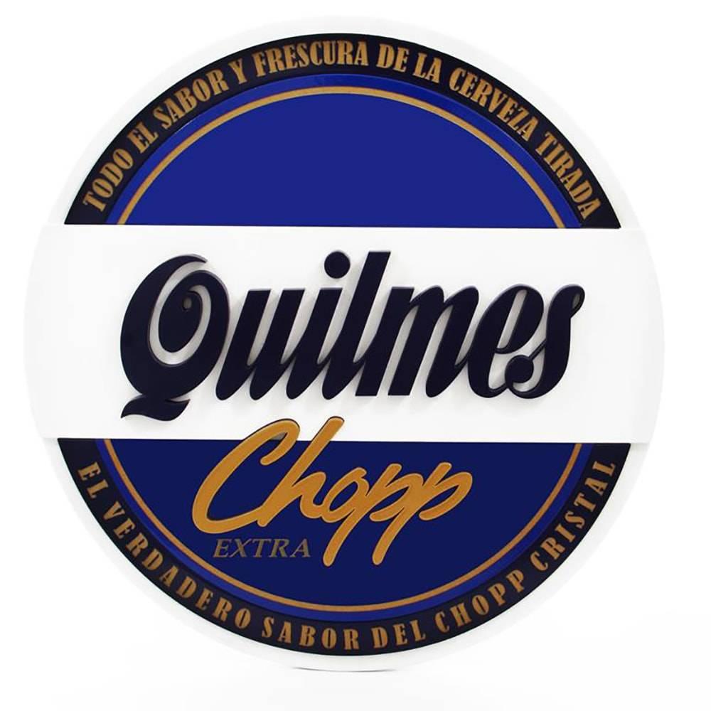 Quadro Decorativo Símbolo Cerveja Quilmes Azul em MDF - 39x39 cm