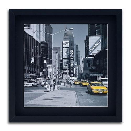 Quadro Decorativo Táxi New York - USA - em Madeira - 40x40 cm