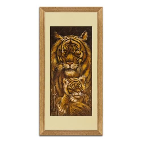 Quadro Decorativo Tigre e Filhote em Madeira - 70x35 cm