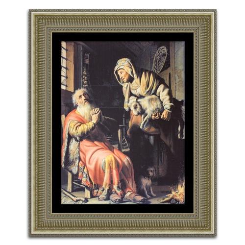 Quadro Decorativo Tobias, Anna e o Cabrito em Madeira - 99x82 cm