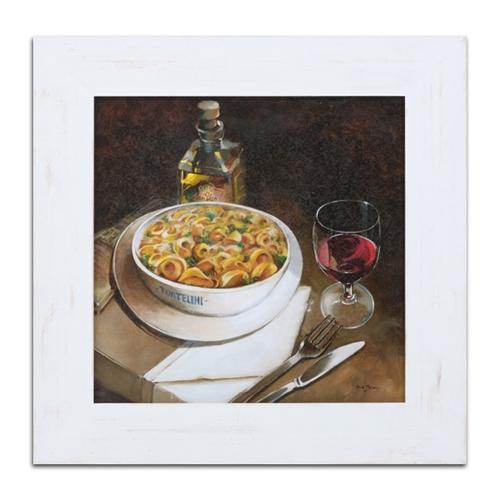 Quadro Decorativo Tortellini e Vinho Tinto em Madeira - 66x66 cm