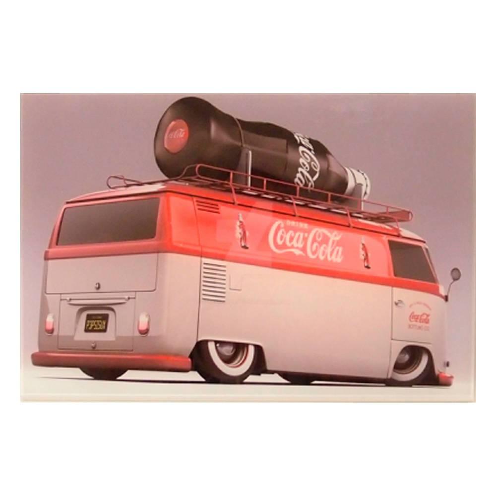 Quadro Decorativo Traseira de Kombi Coca-Cola em Vidro - 30x20 cm