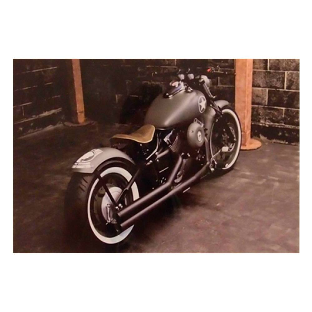 Quadro Decorativo Traseira Moto do Exército Verde em Vidro - 30x20 cm