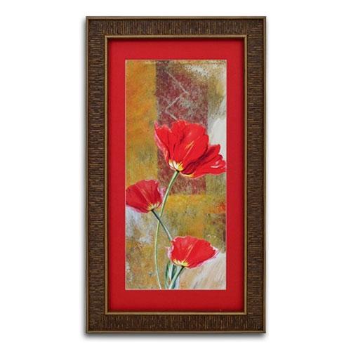 Quadro Decorativo Três Flores Vermelhas Tradicionais em Madeira - 67x38 cm
