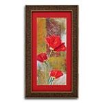 Quadro Decorativo Três Flores Vermelhas em Madeira