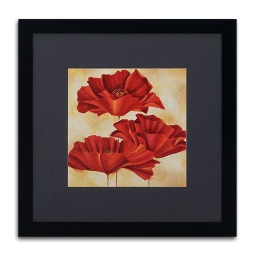 Quadro Decorativo Trio de Flores Vintage em Madeira - 89x89 cm