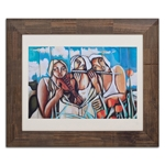 Quadro Decorativo Trio de Mulheres em Madeira