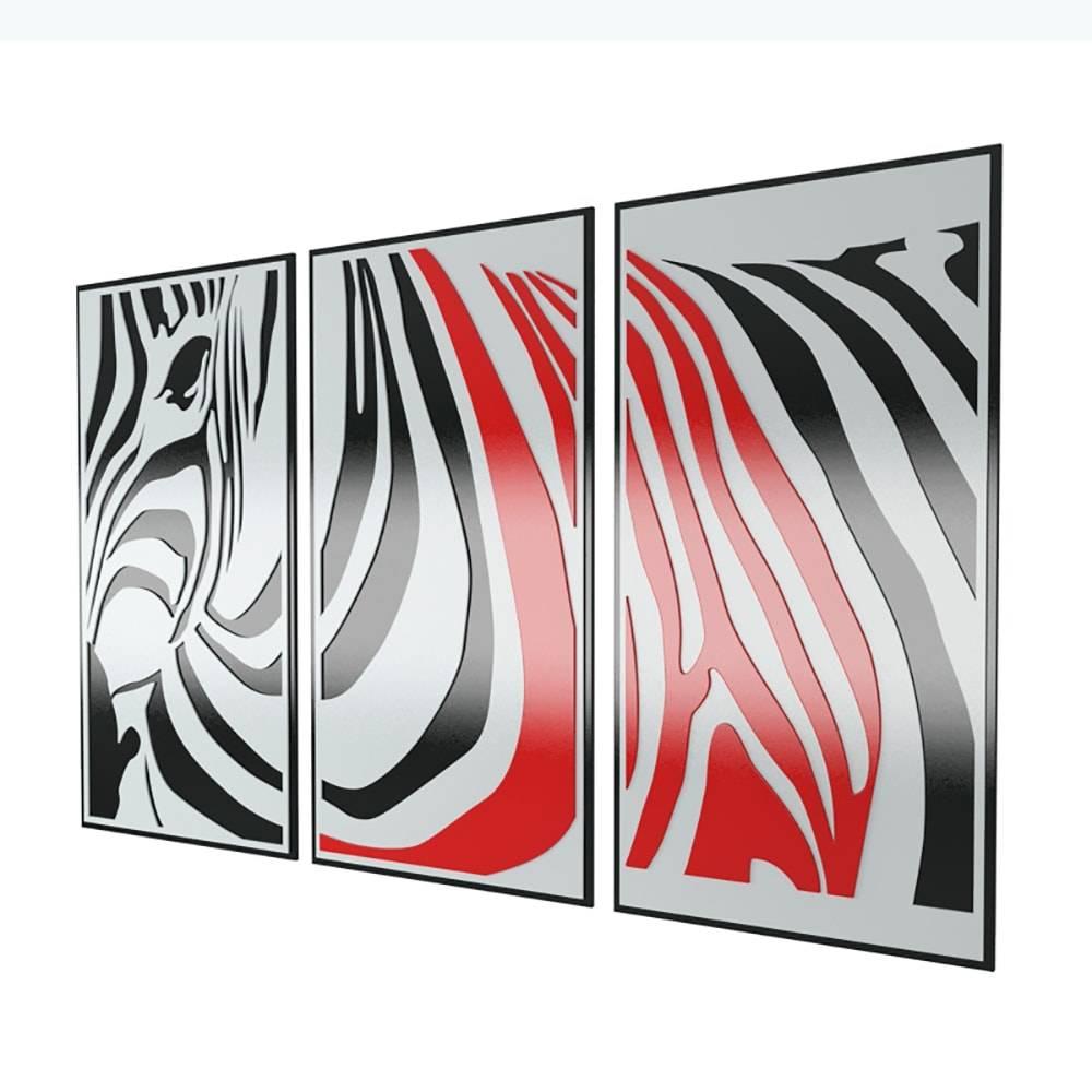Quadro Decorativo Triplo Zebra Preto e Vermelho em MDF - 110x70 cm