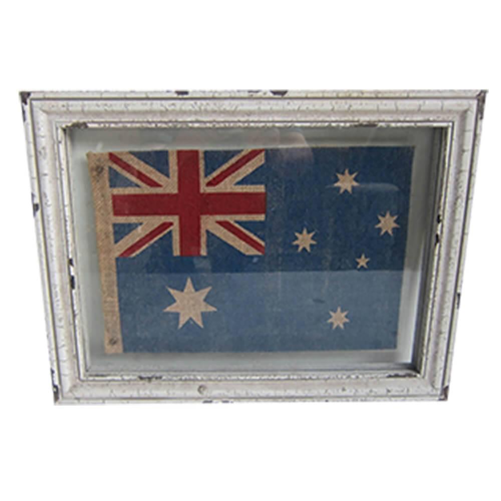 Quadro Decorativo UK Flag White Frame em Madeira - Urban - 45x34 cm