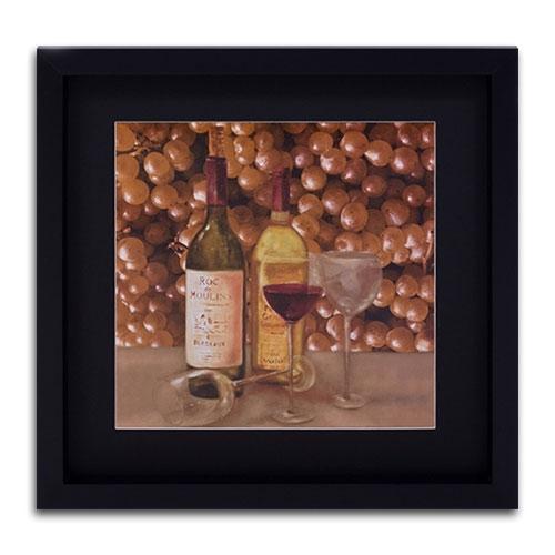 Quadro Decorativo Uvas e Vinhos em Madeira - 48x48 cm