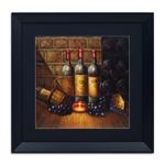 Quadro Decorativo Vinhos, Uvas e Pães em Madeira
