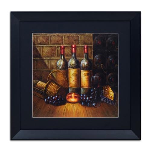 Quadro Decorativo Vinhos, Uvas e Pães em Madeira - 73x73 cm