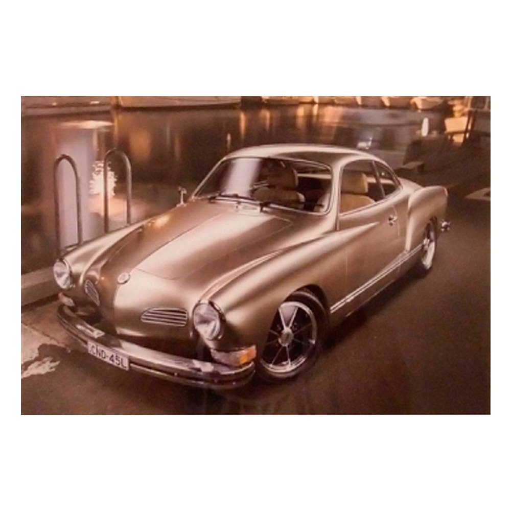 Quadro Decorativo Volkswagem Karmann-Ghia Prata em Vidro - 30x20 cm