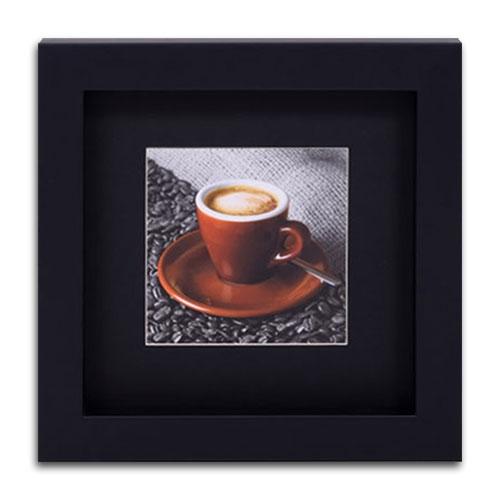Quadro Decorativo Xícara com Café em Madeira - 32x32 cm