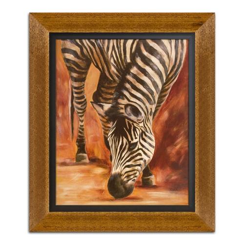 Quadro Decorativo Zebra em Madeira - 65x55 cm