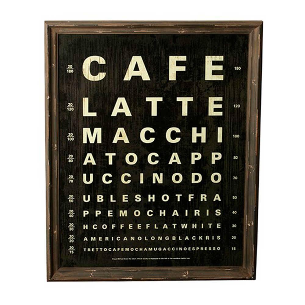 Quadro Diversos Tipos de Café em Madeira e Vidro - 71x57 cm