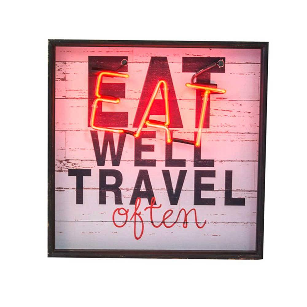 Quadro Eat Well Travel Often com Detalhe de Led em Madeira - 54x53 cm