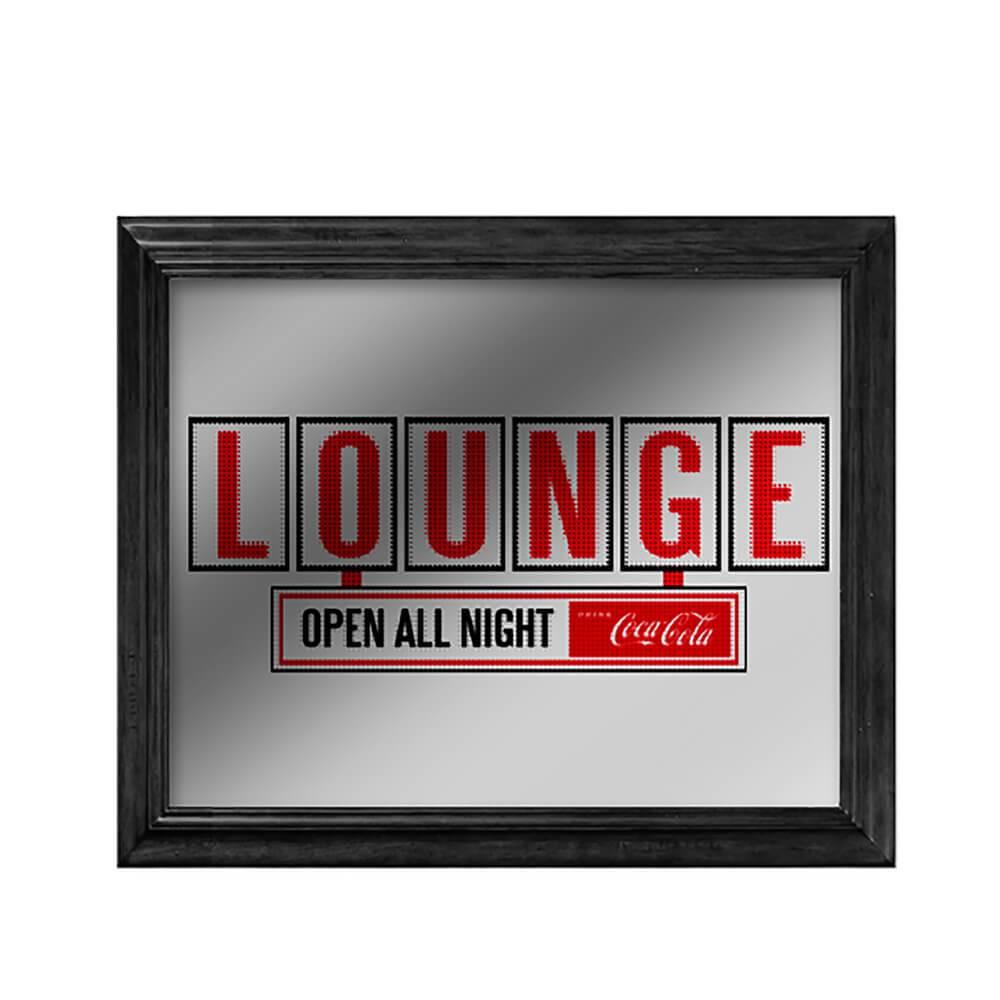 Quadro Espelhado Coca-Cola Lounge em Madeira e Vidro - Urban - 57x47 cm