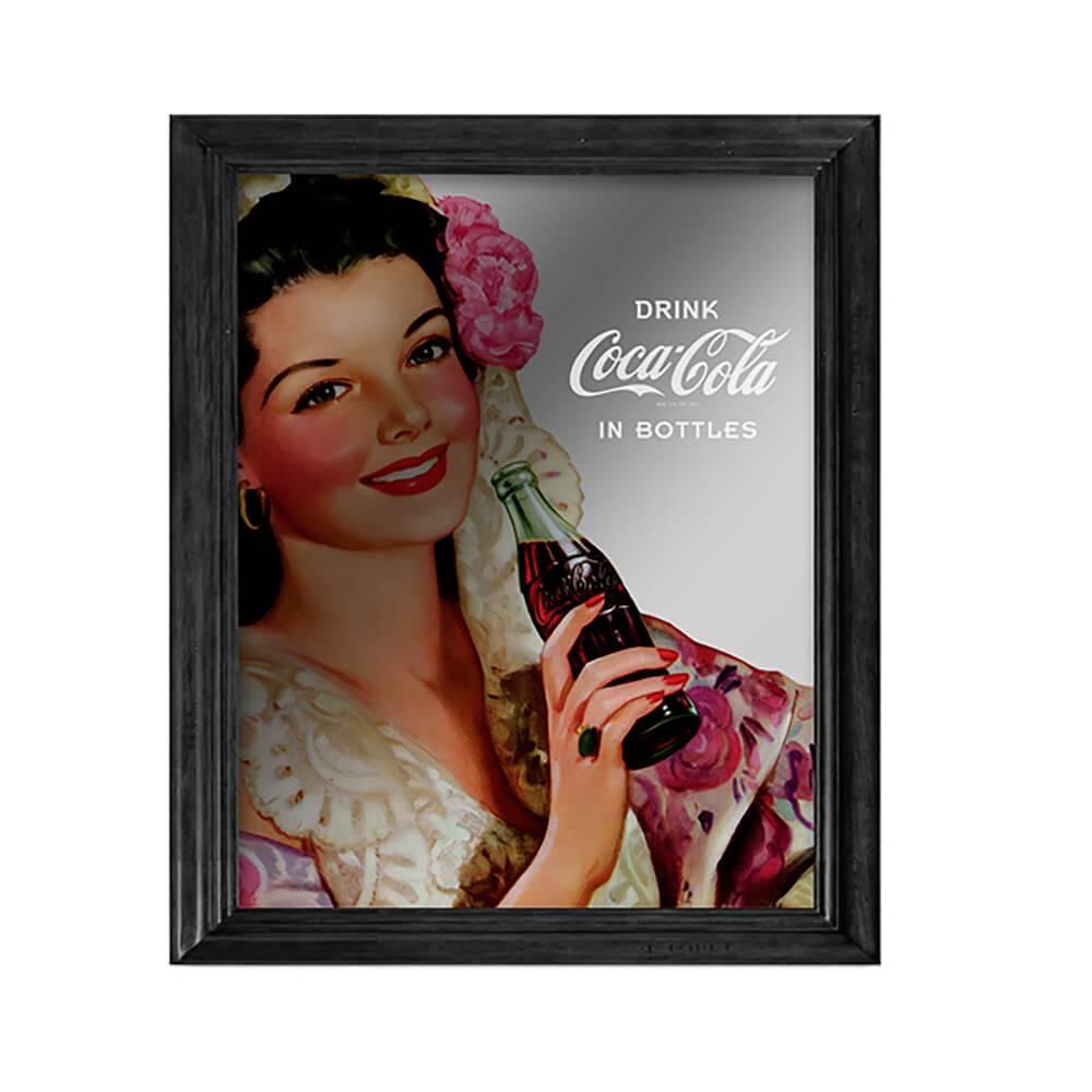 Quadro Espelhado Coca-Cola Pin Up Brunette Lady em Madeira e Vidro - Urban - 57x47 cm