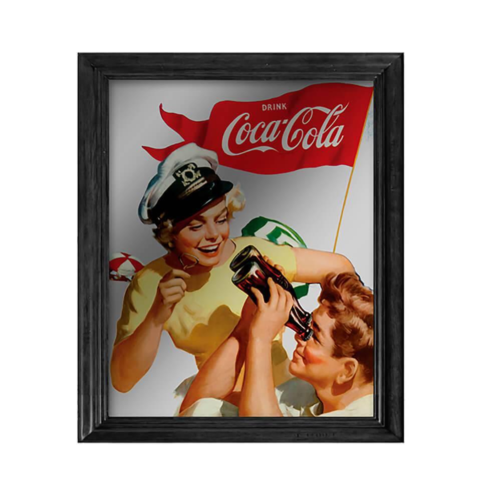 Quadro Espelhado Coca-Cola Pin Up Sailor em Madeira e Vidro - Urban - 57x47 cm