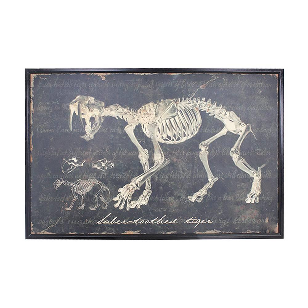 Quadro Esqueleto de Tigre Dente de Sabre Oldway -120x80 cm