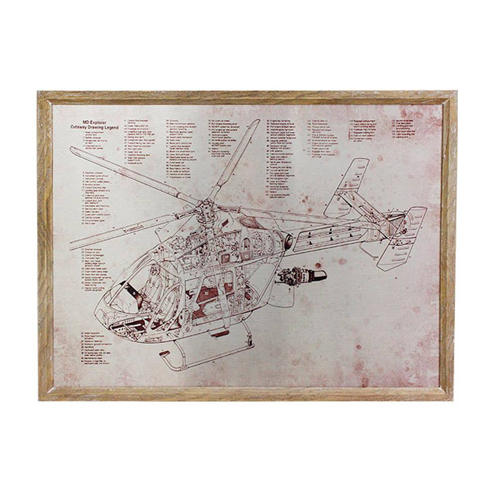Quadro Estrutura de Helicóptero Oldway - 80x60 cm