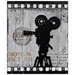 Quadro Filmadora Retrô Recorte Oldway - Metal e MDF - 60x50 cm