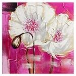 Quadro Flores Brancas c/ Fundo Roxo Fullway - 80x80 cm